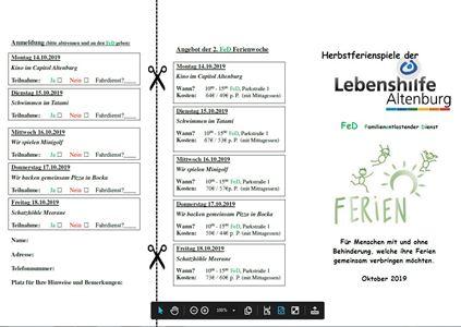 Unser aktuelles Programm für die Herbstferienspiele im FED ist da