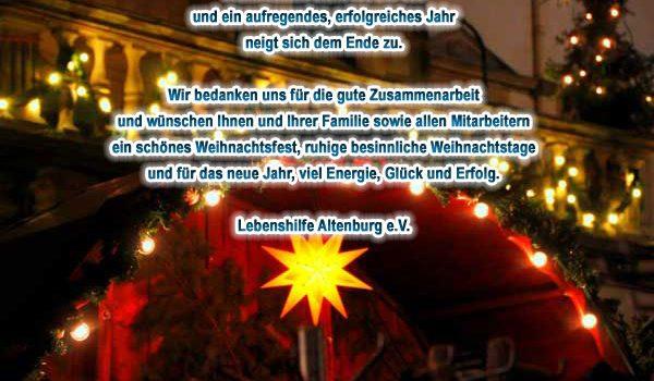Die Lebenshilfe Altenburg e.V. wünscht schöne Weihnachtsfeiertage 2019 und einen gesunden Start ins neue Jahr 2020