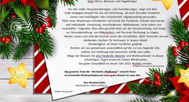 """Weihnachtsgrüße der WfbM """"Pleißenaue"""""""